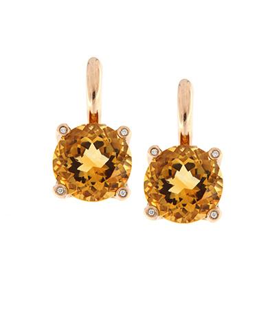 Orecchini in Oro 9K \u2013 Nove con Pietra Quarzo Citrino e Diamanti