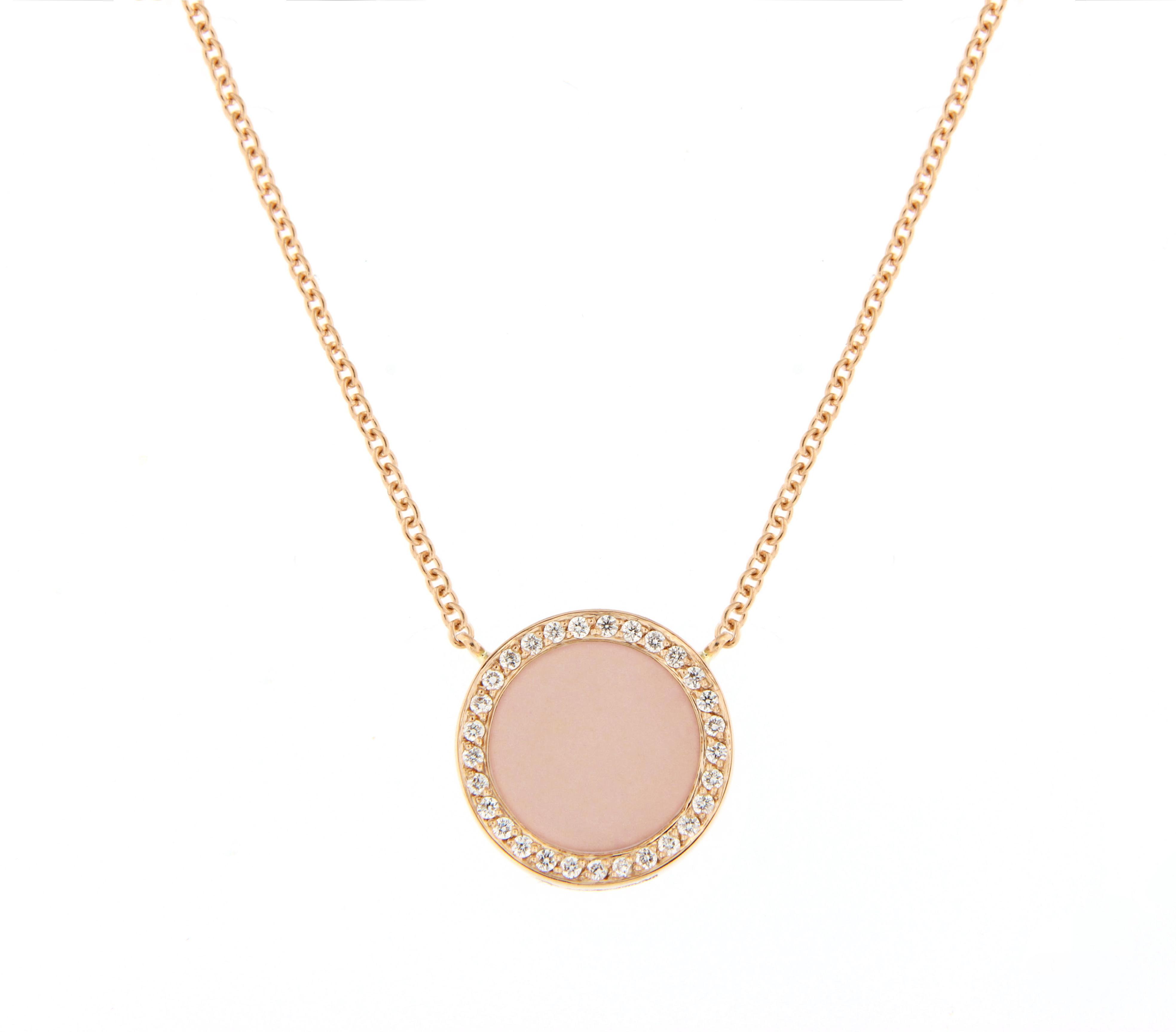 spedizione gratuita 8a24e f258c Girocollo POP Maxi Oro rosa Diamanti bianchi e smalto Cipria