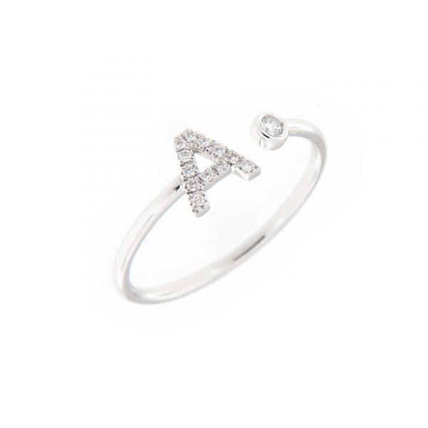 anello letterine - a - con diamanti bianchi