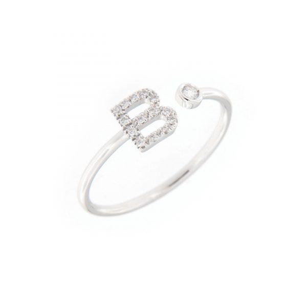 anello letterine - b - con diamanti bianchi