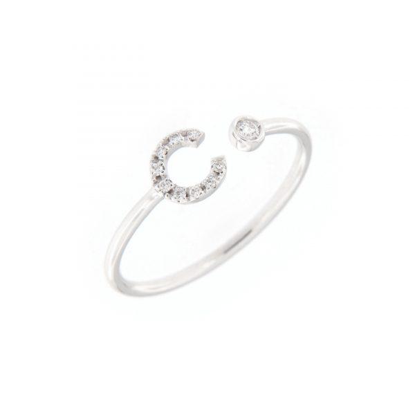 anello letterine - c - con diamanti bianchi