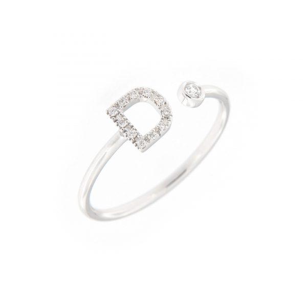 anello letterine - d - con diamanti bianchi