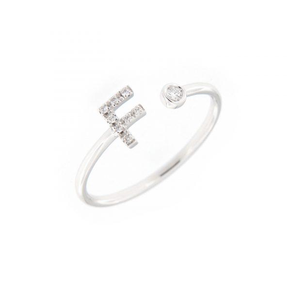 anello letterine - f - con diamanti bianchi