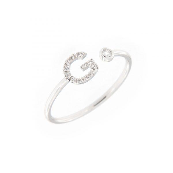 anello letterine - g - con diamanti bianchi
