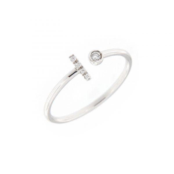 anello letterine - i - con diamanti bianchi