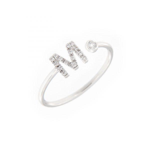 anello letterine - m - con diamanti bianchi