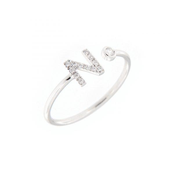 anello letterine - n - con diamanti bianchi