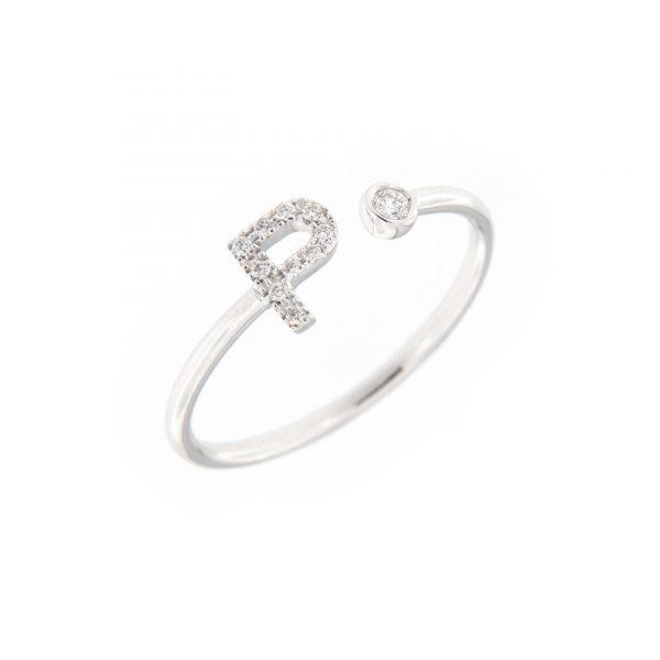 anello letterine - p - con diamanti bianchi