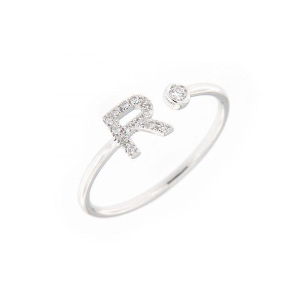 anello letterine - r - con diamanti bianchi
