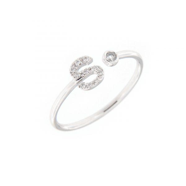 anello letterine - s - con diamanti bianchi