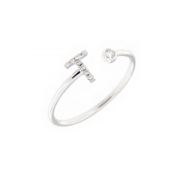 anello letterine - t - con diamanti bianchi