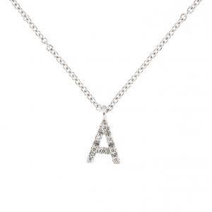 girocollo letterine - a - con diamanti bianchi