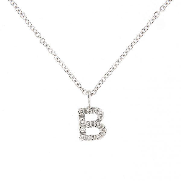 girocollo letterine - b - con diamanti bianchi