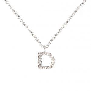 girocollo letterine - d - con diamanti bianchi