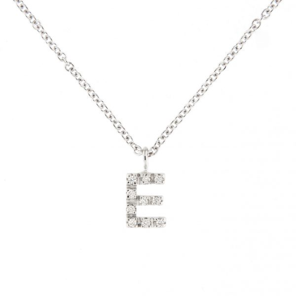 girocollo letterine - e - con diamanti bianchi