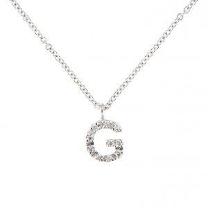 girocollo letterine - g - con diamanti bianchi