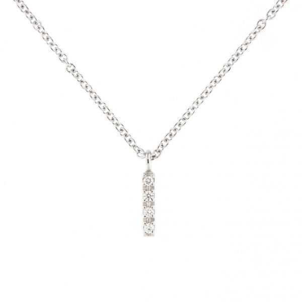 girocollo letterine - i - con diamanti bianchi