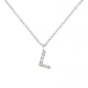 girocollo letterine - l - con diamanti bianchi