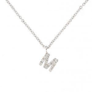 girocollo letterine - m - con diamanti bianchi