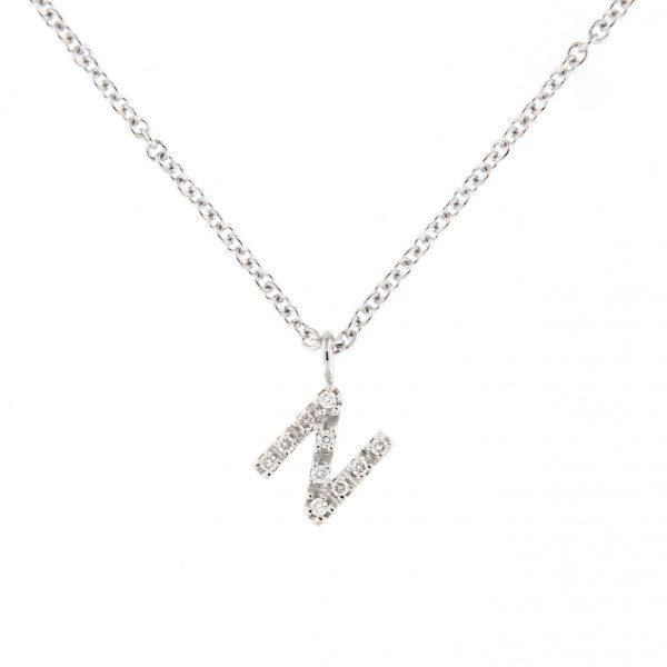 girocollo letterine - n - con diamanti bianchi