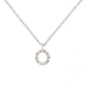 girocollo letterine - o - con diamanti bianchi