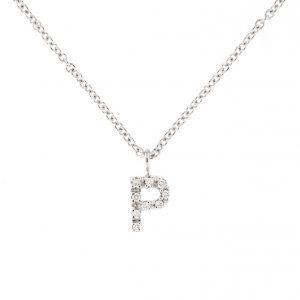girocollo letterine - p - con diamanti bianchi