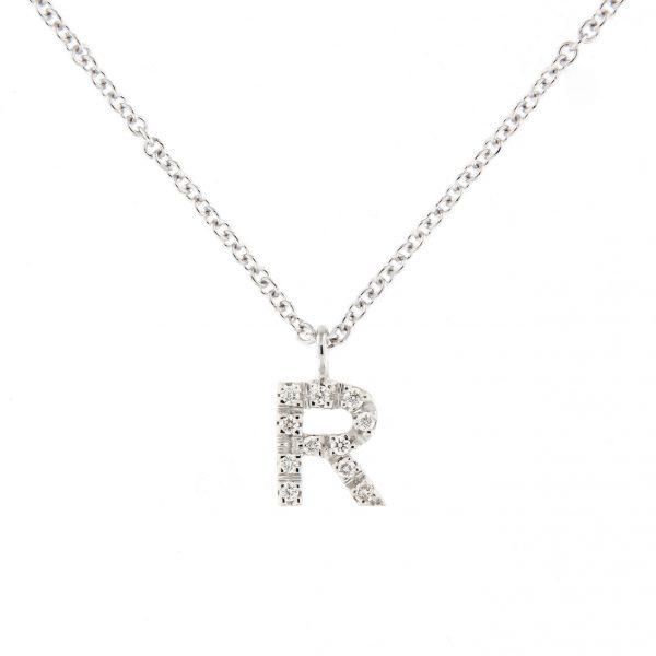girocollo letterine - r - con diamanti bianchi