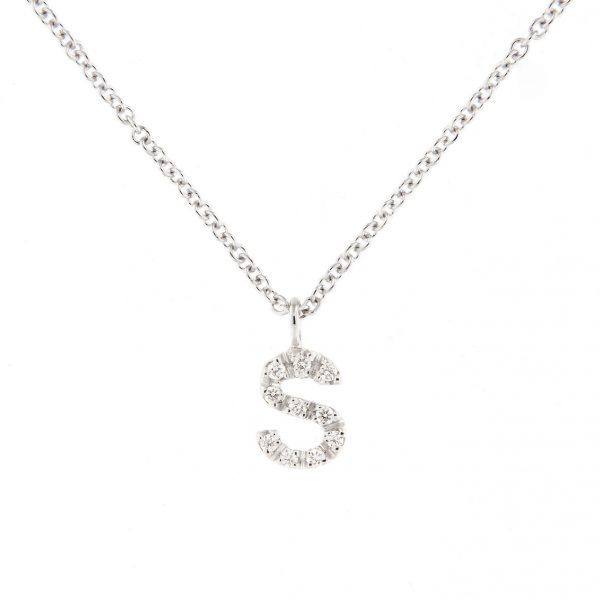 girocollo letterine - s - con diamanti bianchi