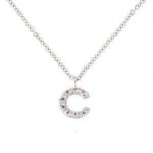 Girocollo letterine - T - con diamanti bianchi