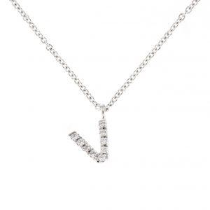 girocollo letterine - v - con diamanti bianchi